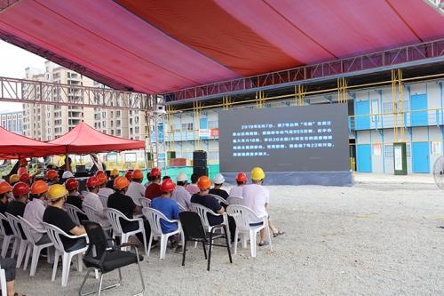 海滨集团施建的金麟府项目参与安吉县基坑坍塌应急预案演练